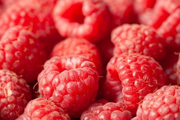 Fresh Raspberries Close View