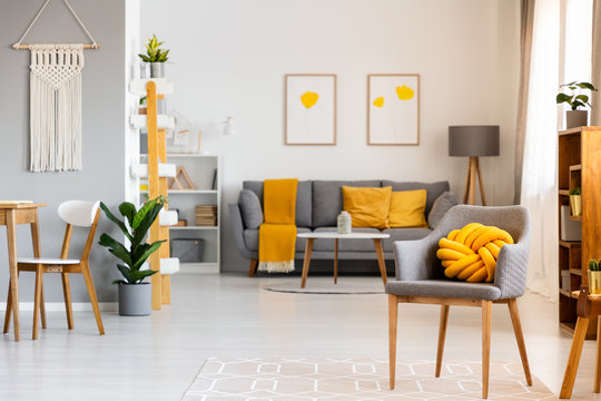 Yellow pillow on grey armchair in spacious flat interior with posters above sofa with blanket. Real photo