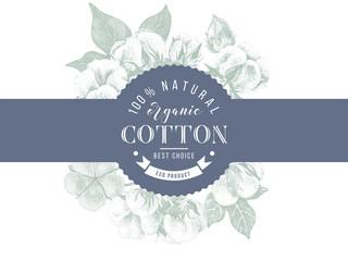 cotton emblem over hand drawn cotton branches