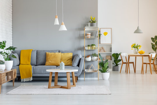 Lamps above wooden table in open space interior with yellow blanket on grey sofa. Real photo