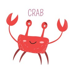 Ocean crab with big claws childish book character