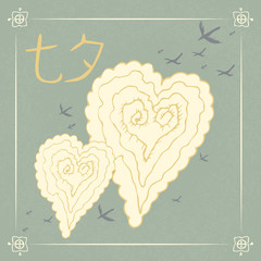 Chinese Valentines Day. Double Seven Festival. 17 August. Chinese holiday. Tale, legend. Chinese style hand drawn. Heart Shaped Cloud, magpies. Translation from Chinese - Qixi Festival