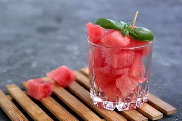 Healthy snack or dessert, sliced watermelon in a glass. Summer concept