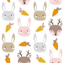 Seamless pattern with cute animals. Nursery baby animal vector illustration