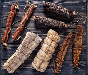 dried meat on the wooden background