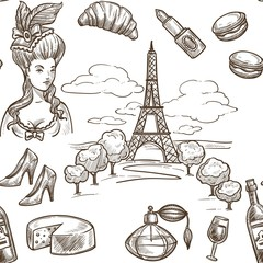 France sketch vector seamless pattern background