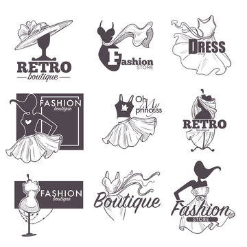 Fashion dress boutique vector sketch retro icons