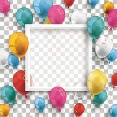 Bildrahmen Weiß mit bunten Luftballons vor einem durchsichtigen Hintergrund