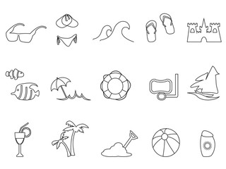 black beach outline icons set