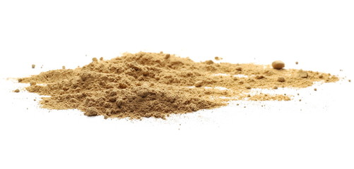 Ginger powder isolated on white background, (Zingiber officinale)