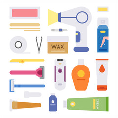 bath object icons flat design style vector graphic illustration set