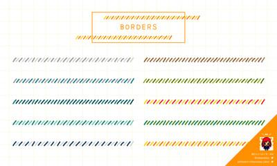 カラフルな手描き飾り罫(斜めライン)