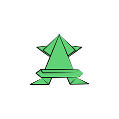 frog colored origami style icon. Element of animals icon. Made of paper in origami technique vector Illustration frog icon can be used for web and mobile