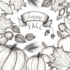 Happy fall. Concept of the holiday of autumn and harvest. Hand drawing. The leaves of the trees are maple, oak. Pumpkin, apple, mushroom, dog rose, fizalis, acorns, wheat