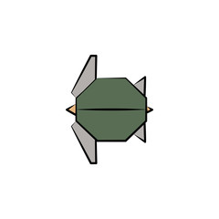 turtle colored origami style icon. Element of animals icon. Made of paper in origami technique vector Illustration turtle icon can be used for web and mobile