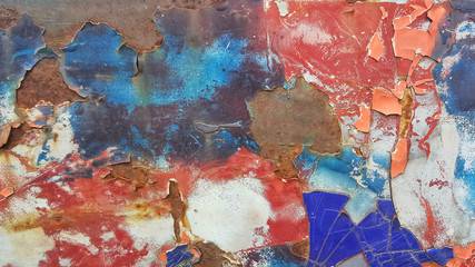 texture of surface and pattern with peeling paint of old car. Uneven color.abstract background.