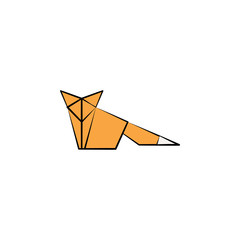 a fox colored origami style icon. Element of animals icon. Made of paper in origami technique vector Illustration a fox icon can be used for web and mobile