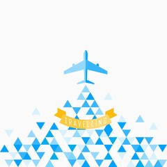 Travel Airplane blue, Flat icon modern design style vector illustration concept.