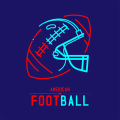 American football helmet with ball logo icon outline stroke set dash line design illustration isolated on dark blue background with soccer text and copy space