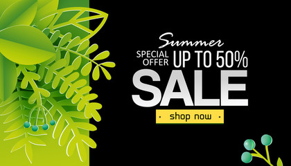 Summer Sale business offer vector banner design with leaves, plants. Negative space trend. Summer placard poster flyer invitation card. Paper art cut out style. Green and black colors.
