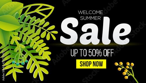 Summer Sale Business Offer Vector Banner Design With Leaves