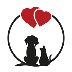 Round sighn, can use for pet shop logo, veterinary clinic, etc. Cat and dog silhouettes on a white background