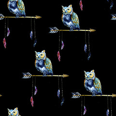 Watercolour Native american arrow with owl seamless pattern on black for print, cards, pictures, fabric, textile