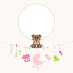 Teddy Hanging Baby Symbols Girl Frame Retro Dots