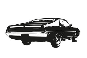 Fototapeta American muscle car from the 1970s vector silhouette illustration obraz