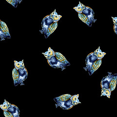 Watercolour owl seamless pattern on black for print, cards, pictures, fabric, textile