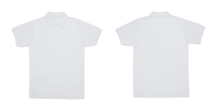 Blank Polo shirt color white front and back view on white background