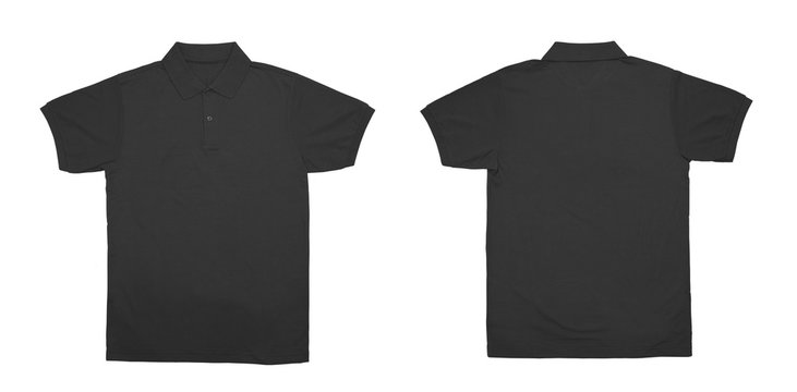 Blank Polo shirt color black front and back view on white background