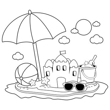 Summer vacation island with beach umbrella, a sandcastle and other beach toys. Black and white coloring book page