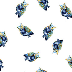 Watercolour owl order blue seamless pattern on white for print, cards, pictures, fabric, textile
