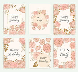 set of greeting card with flowers, can be used as invitation card for wedding, birthday and other holiday and summer background. Vector