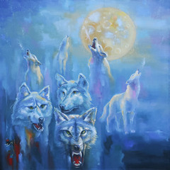 A pack of wolves in the cold winter night howl at the moon. Picturesque picture: oil on canvas. Author: Nikolay Sivenkov.
