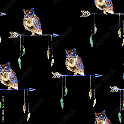 watercolour native american arrow with owl seamless pattern on black