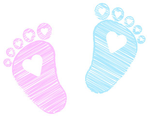 Baby Feet -  footprint - pink and blue - Hearts - scribble