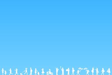 人物 シルエット ブルー背景
