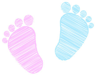 Baby Feet -  footprint - pink and blue - scribble