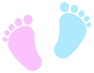 Baby Feet -  footprint - pink and blue