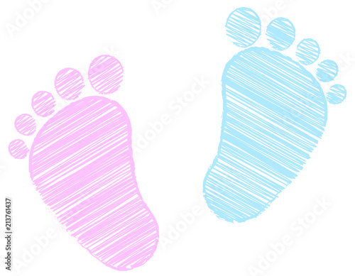 baby feet footprint pink and blue scribble stock image and