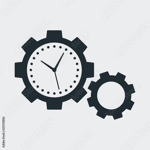 Icono Plano Dos Engranajes Con Manecillas Reloj En Fondo Gris Stock