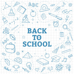 Back to school background with hand draw doodle supplies