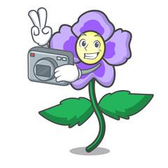 Photographer pansy flower mascot cartoon