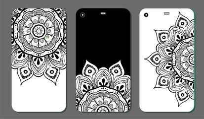 Phone case mandala design set. Vintage decorative elements. Hand drawn background. Islam, Arabic, Indian, ottoman motifs