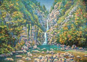 Mountainous summer landscape with a three-stage waterfall Nameless. Sochi National Park.Painting:...