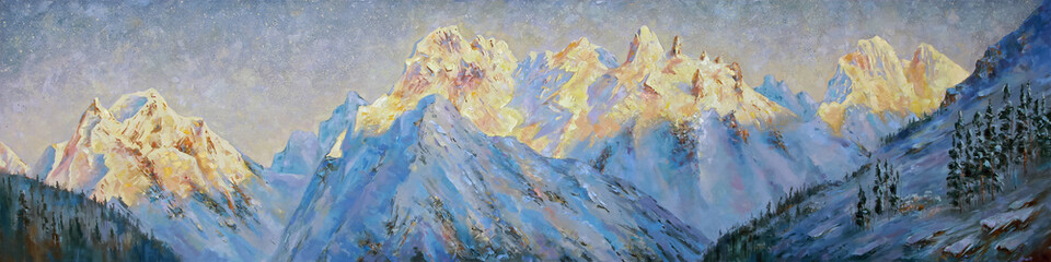 An oil painting on canvas. Golden peaks of the Elbrus region at dawn. Mountain landscape in bright...