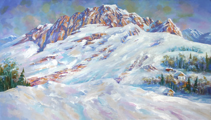An oil painting on canvas. Snow drifts at the foot of mount Fisht . Mountain landscape in bright...