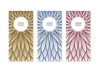 Vector banners. Pattern with modern gradients design. Art deco linear geometrical style.